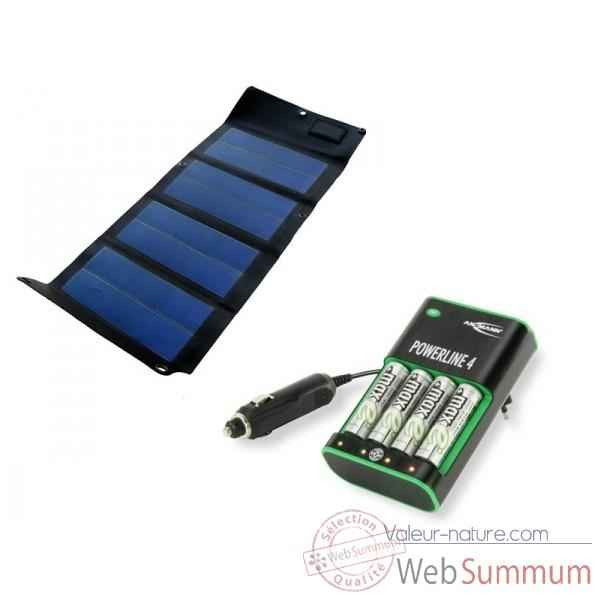 Kit solaire power4 + chargeur aa/aaa KIT4PL4